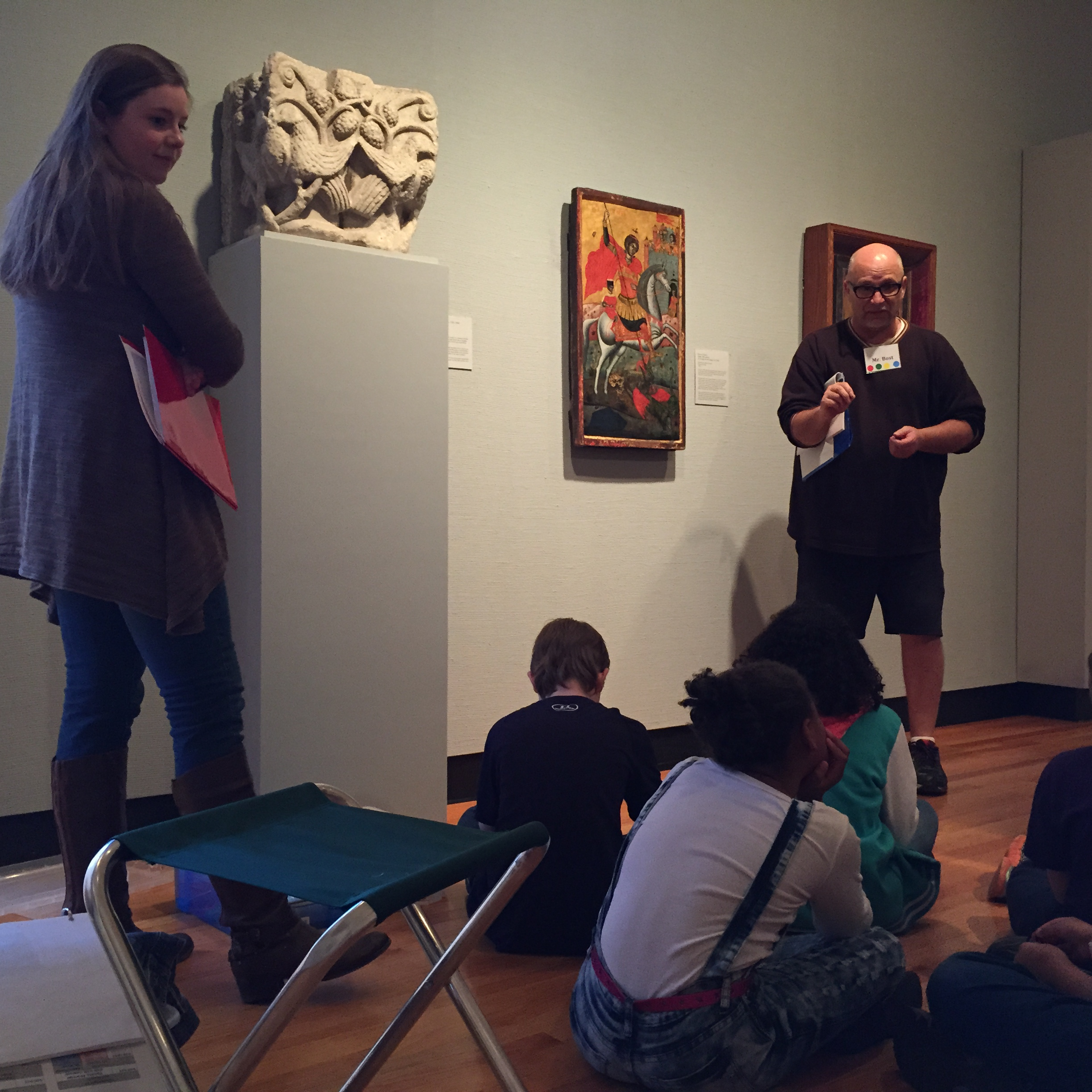 KAMWAM students and teachers learn about art on display in the Trees Gallery at Krannert Art Museum