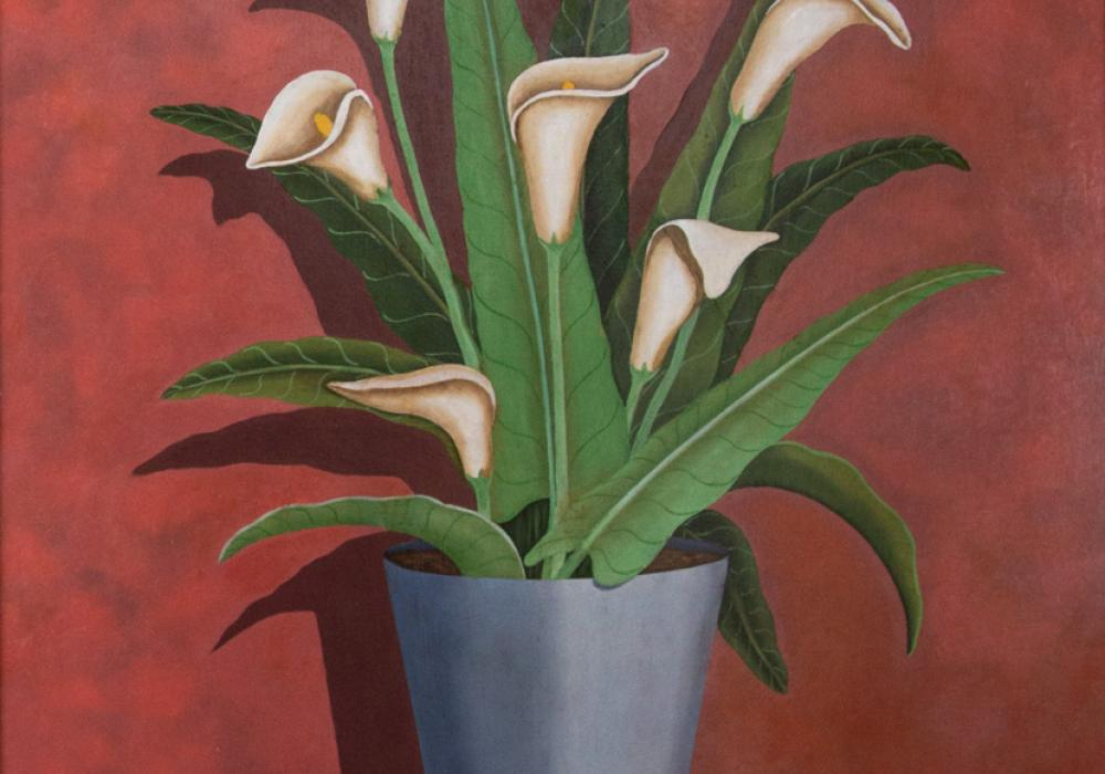 Pedro López Cervántez, Lilies, 1937. Oil on Masonite. Allocated by the US Government, Commissioned through the New Deal art projects, 1943-4-58