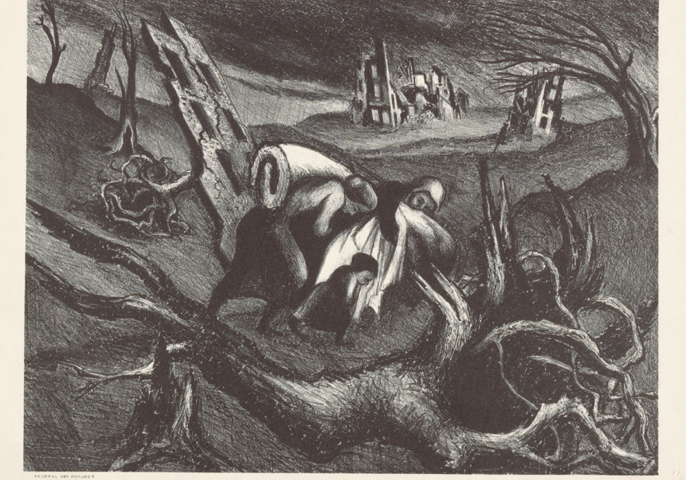 Black and white print that depicts a huddled family carrying their belongings through a desolate, dark landscape. They are robed/veiled and are so close that it's hard to distinguish individual people.