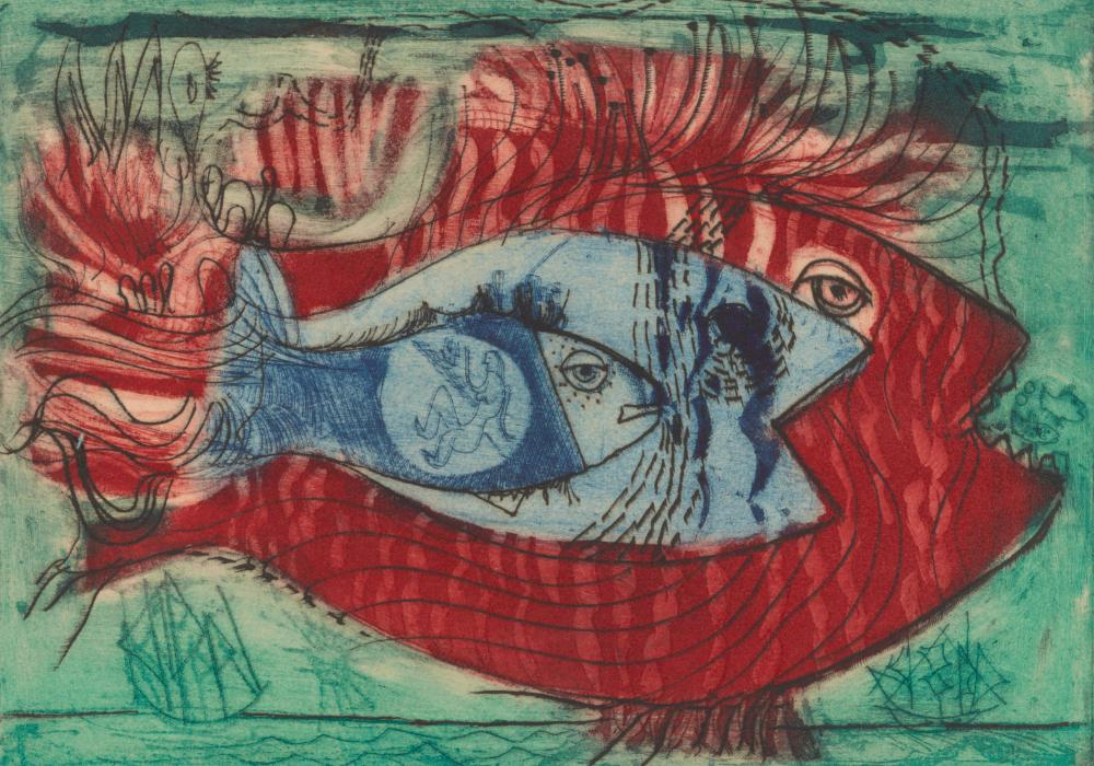 Nahum Tschacbasov, Fish, 1947. Color intaglio. Museum purchase 1950-10-1.