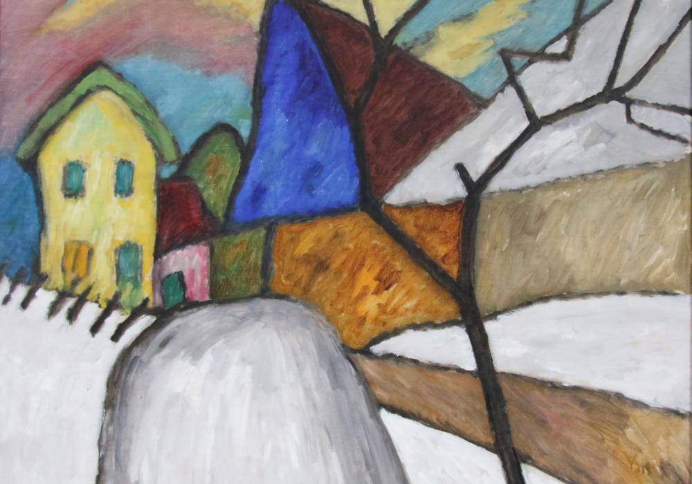 Gabriele Münter, The Blue Gable, 1911. Oil, canvas. Gift of Albert L. Arenberg 1956-13-1
