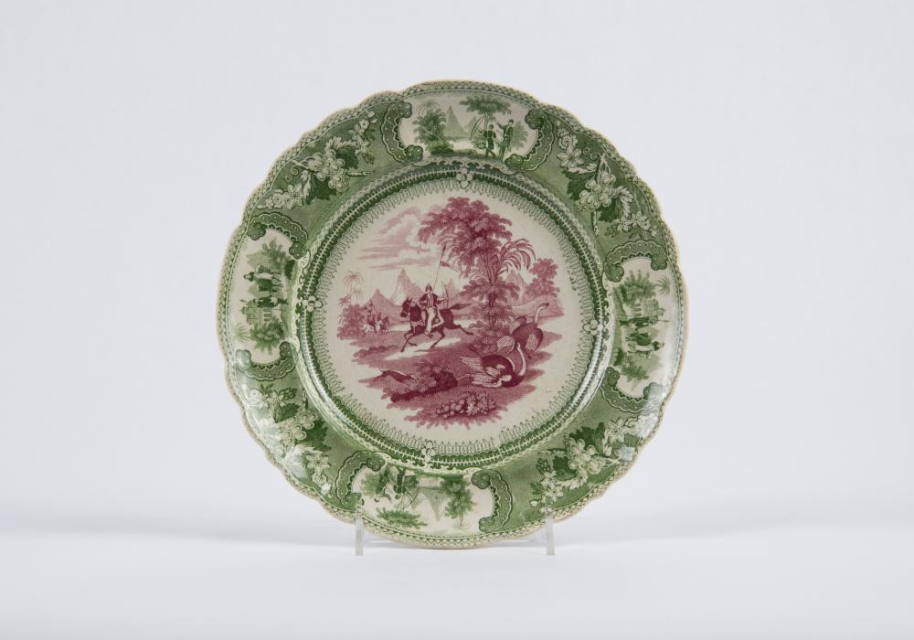 "Enoch Wood & Sons, Plate with ""Belzoni"" Pattern, 1830-1840. Earthenware, transfer-printed in underglaze red and green. Theresa E. and Harlan E. Moore Collection. 1967-24-103"