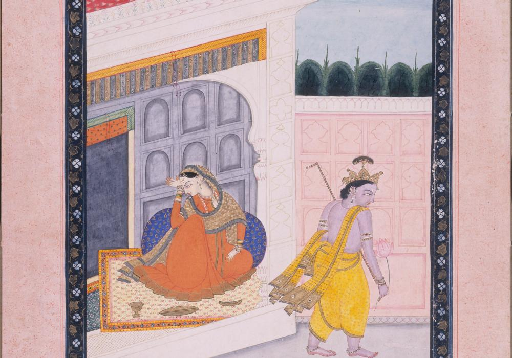 Abhisandhita Nayika: Radha and Krishna estranged by a quarrel, 19th century. Northern India, Himachal Pradesh, Pahari school, Kangra. Opaque color and gold leaf on paper. Gift of George P. Bickford 1970-10-5