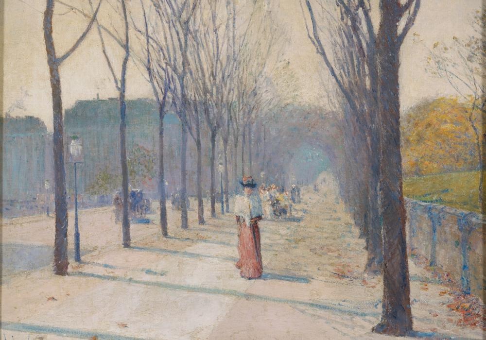 Childe Hassam, Lady in the Park, 1890. Oil on canvas. Gift of Katherine Trees Livezey 1973-3-1