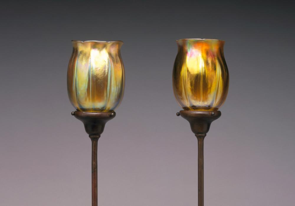 Louis Comfort Tiffany, Favrile Candle Lamp (detail), 1982-16-6_7. Iridescent glass, hand-wrought bronze. Gift of Willis N. and Louis Bruce 1982-16-6, 1982-16-7