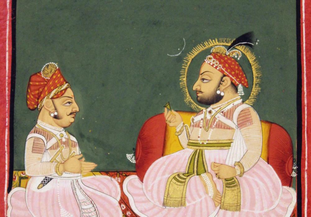Portrait of Bhim Singh with Counselor. India, Devghari School, ca. 1820. Opaque color on paper. Gift of Alvin O. Bellak 1991-23-9