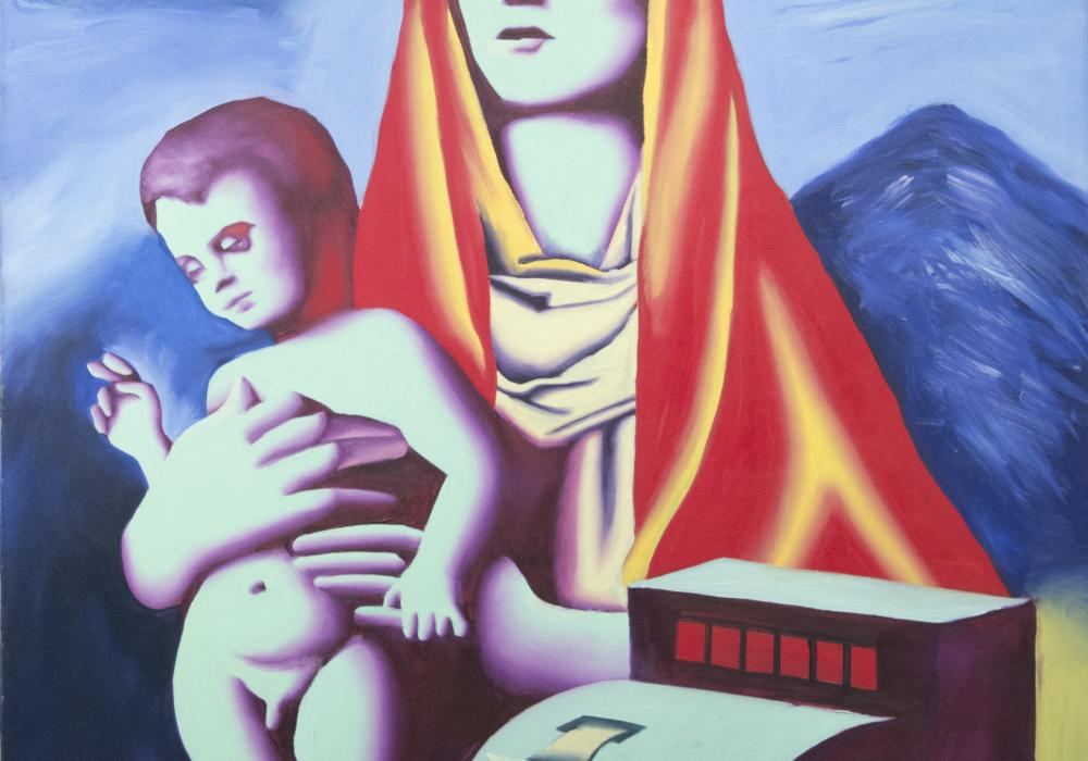 Mark Kostabi, Madonna, 1984. Oil on canvas. Gift of Rebecca Frankel Wilkinson 1996-14-1