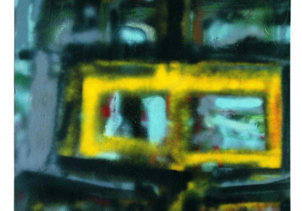Hedda Sterne, N.Y. 1 [Road #4], 1956. Acrylic spray paint on canvas. 86 x 50 inches. Gift of the artist. 2006-3-1