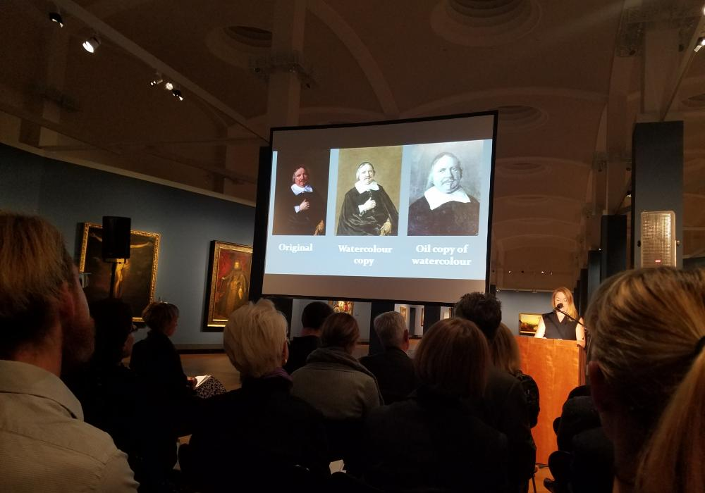 Nancy Karrels speaks in the old masters gallery at the Gemäldegalerie at the Provenance Research Exchange Program conference in Berlin, September 27, 2017.