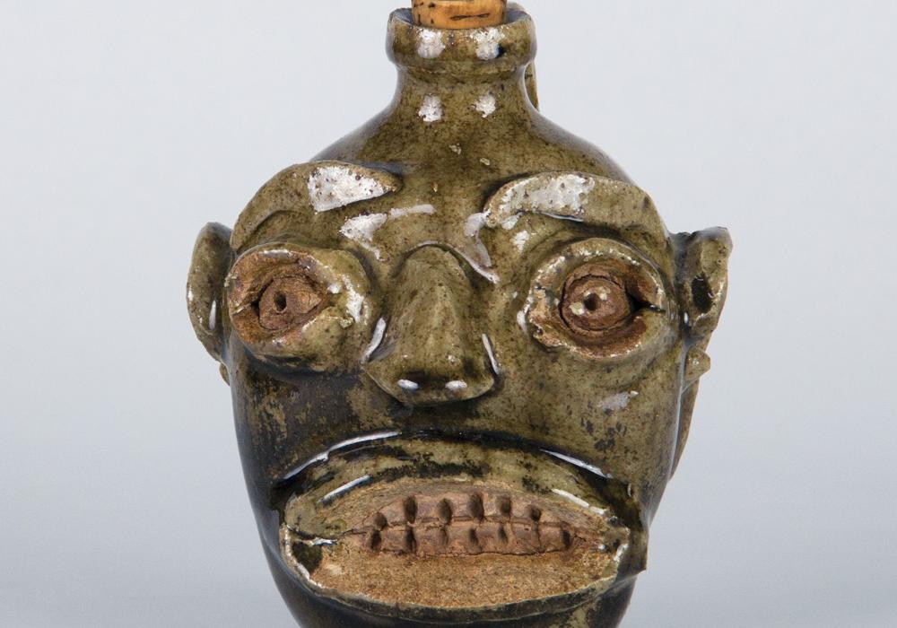 Unknown artist (Active in Edgefield, South Carolina). Face Jug, ca. 1850–1865. Alkaline-glazed stoneware. Museum purchase through the Theresa E. and Harlan E. Moore Charitable Trust Fund 2018-15-1