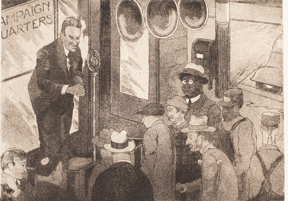 "Print of a white man speaking into a microphone in front of a window that says ""Campaign Headquarters."" The audience is men of varying ages, races, and (by their clothing) social class. Some are listening. Some do not seem to be."