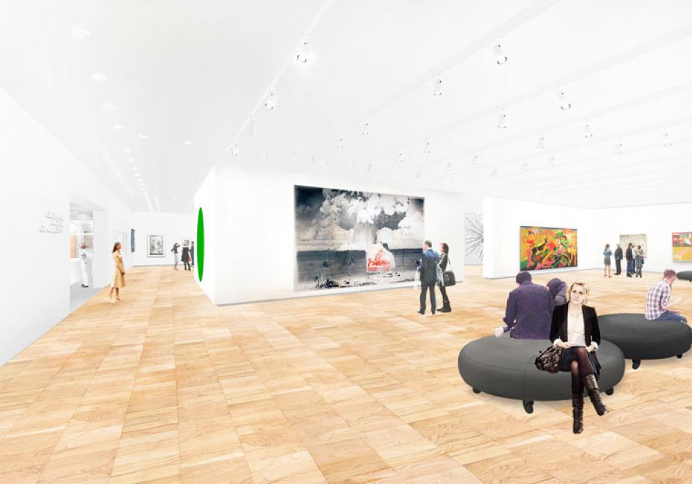 Architectural rendering of renovated Rosann Gelvin Noel Gallery, Courtesy Rice Lipka Architects