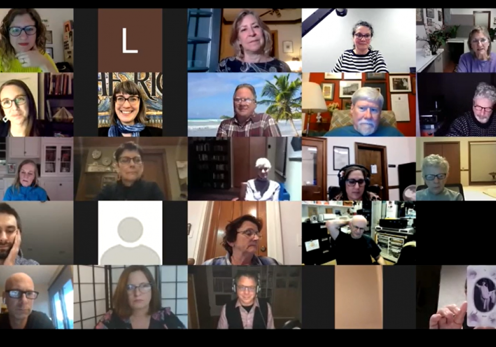 Grid of faces of zoom participants for the virtual opening celebration for Bea Nettles Harvest of Memory. 25 faces are pictured in a grid format.
