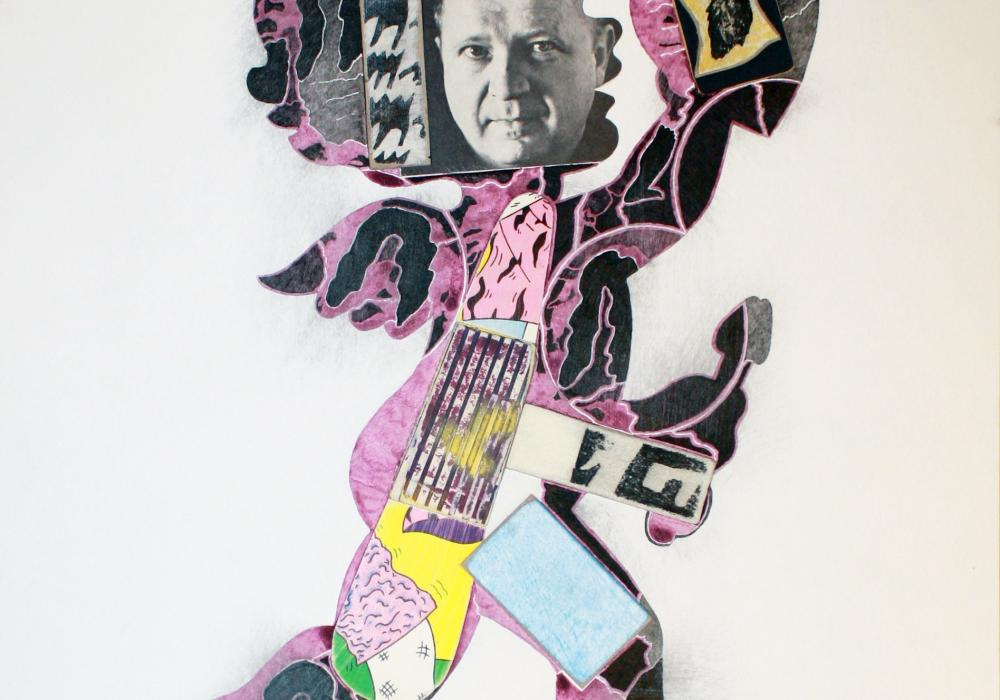 Ray Johnson, Untitled (Cupid with Ad Reinhardt), 1974. Collage on illustration board. Courtesy Richard L. Feigen & Co., New York © Ray Johnson Estate