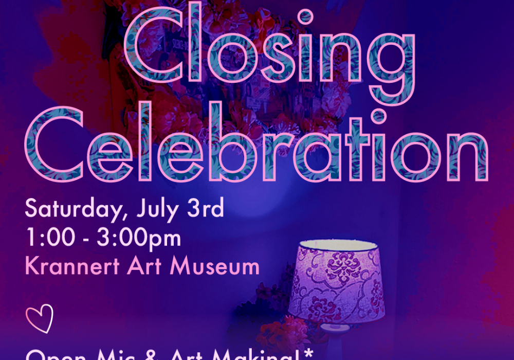 """Purple graphic with text that says """"Homemade, with Love: More Living Room Closing Celebration, Sat. July 3,1-3pm; Krannert Art Museum, Open-mic and art making, outdoors weather permitting with covid-19 precautions, mask required unless vaccinated""""."""