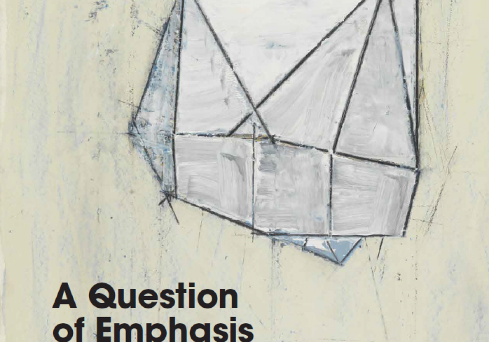 """Cover of the book """"A Question of Emphasis: Louise Fishman Drawing"""" featuring a wax and oil sketch that resembles folded paper. The shading makes the shapes and angles of the drawing look three dimensional."""