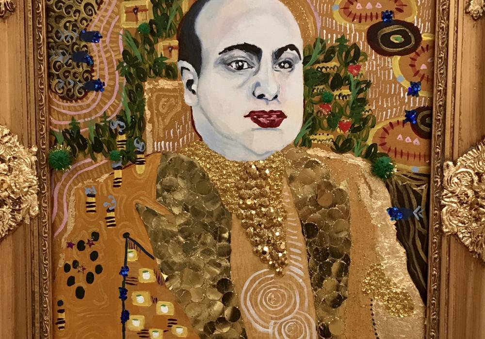 Painted portrait of a white, heavyset man, just head and shoulders, embellished with gold glitter, sequins, and gem-like adornments to resemble an icon or sacred image. The man's face looks cold and pale.