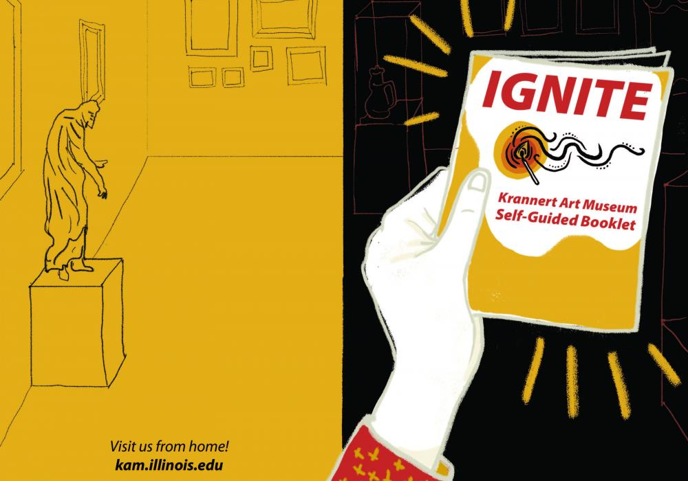 Booklet cover design with a yellow field at left with a line drawing of a standing sculpture (Joseph from the Trees Gallery). At left is a black background with an illustration of a hand holding a booklet that says Ignite!