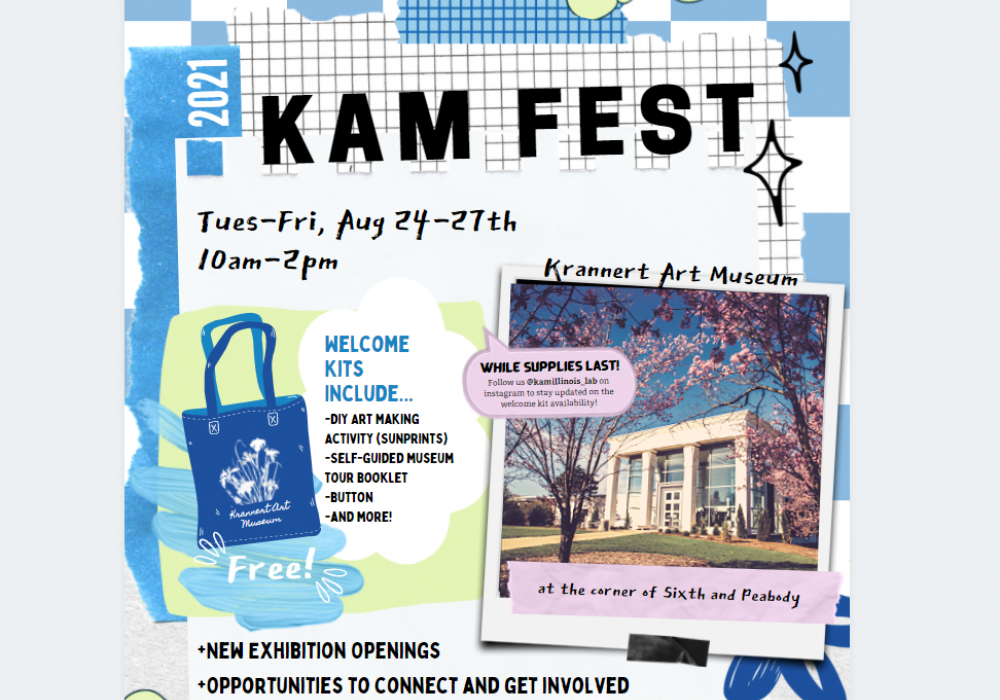 KAM Fest graphic with details about the 2021 program, Aug 24-27 from 10am to 2pm