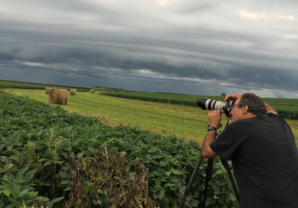 "Larry Kanfer shooting the Illinois landscape for the photograph ""We're not in Kansas anymore"", 2016."