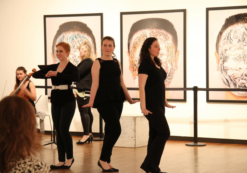 Students from Lyric Theatre @ Illinois perform in the Rosann Gelvin Noel Gallery at KAM, 2015. Photo by Julia Nucci Kelly