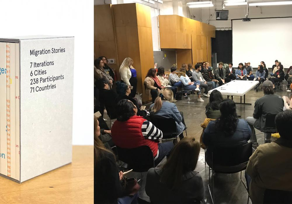 This is a dual image, two images combined into a single header. On the left is a series of books titled Migration Stories, each with a different color type. At right, a group of students talking with the artists during a public program about migration.