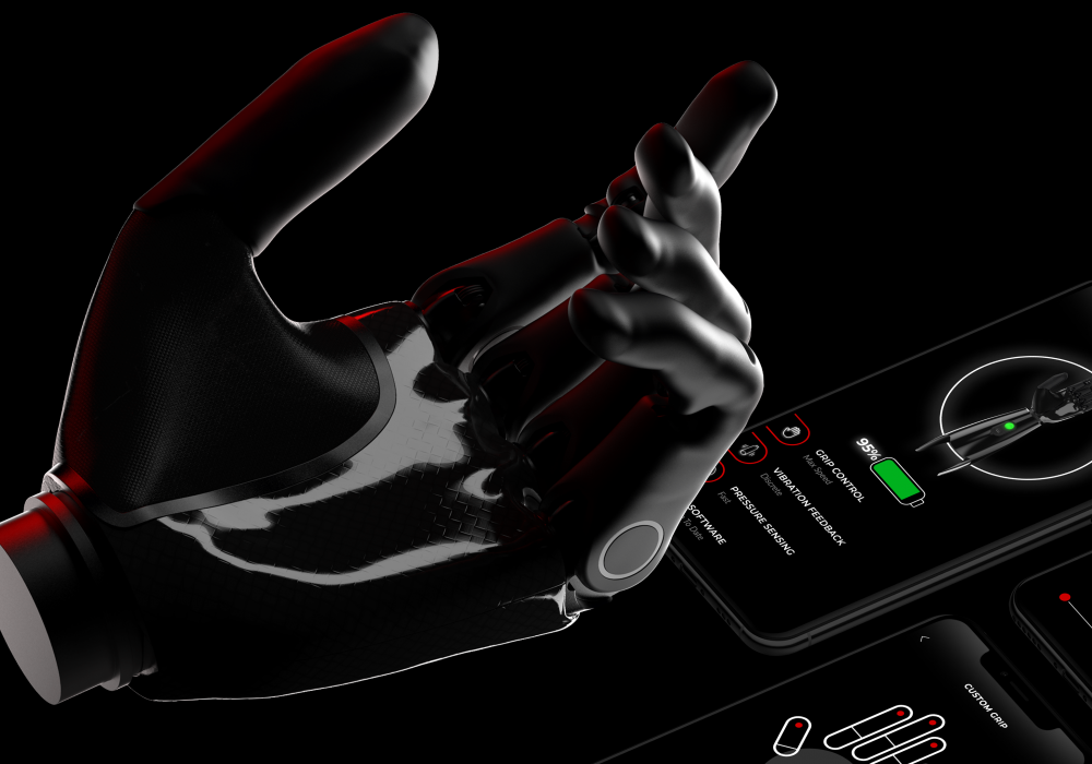 Image of a black bionic prosthetic hand designed by Gabriel Delgado, Finish is black on black background.