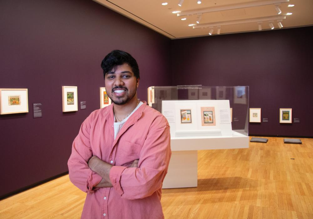 Samit Sinha in From Hand to Hand: Painting and the Animation of History in Northern India, installation at Krannert Art Museum, 2019.