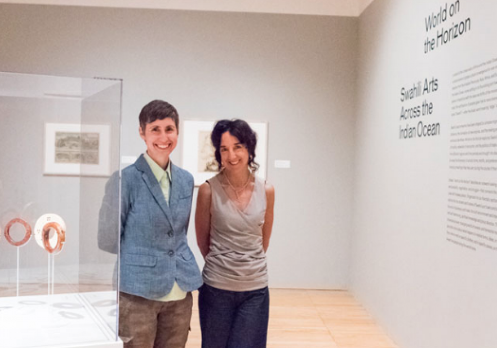 Christine Saniat and Allyson Purpura in World on the Horizon: Swahili Arts Across the Indian Ocean, installation at Krannert Art Museum, 2017.
