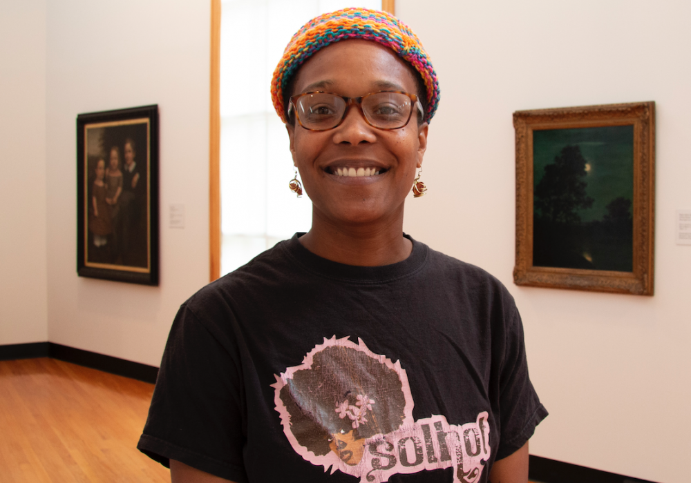 Blair Ebony Smith, DRIVE Postdoctoral Fellow at the University of Illinois in the Bow Gallery of Krannert Art Museum, 2019.