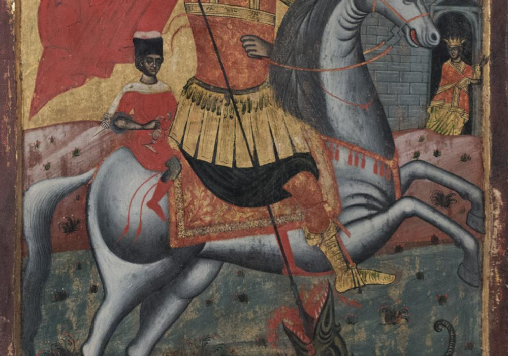 Colorful image with St. George sitting on a horse holding a sharp spear. The spear is pointing in the direction of a green dragon with red wings. There is a castle with some people in the background.