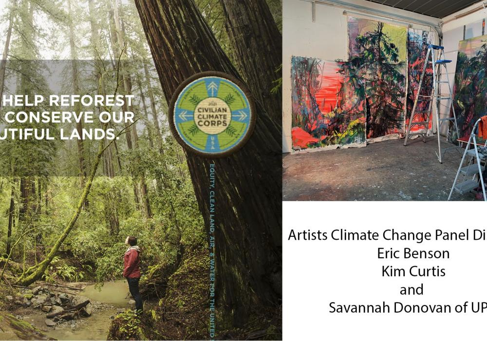 designs by Eric Benson for the revamp of the Conservation Corps as Civilian Climate Corps (left) and art by Kim Curtis that features paintings of trees arranged as a healthy forest. Text lists the names of participants in the panel.