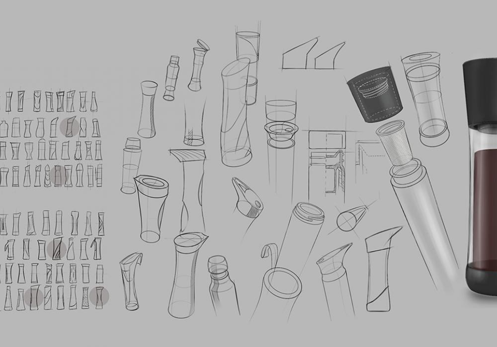Design sketches that show the way Justin Kim conceived of the cultura cold brew coffee maker project