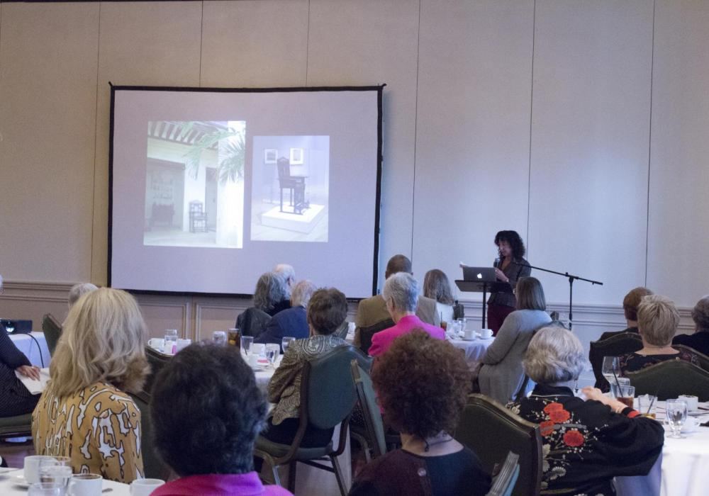 KAM curator Allyson Purpura speaks during the Fall Luncheon and Lecture at the Champaign Country Club, 2017.