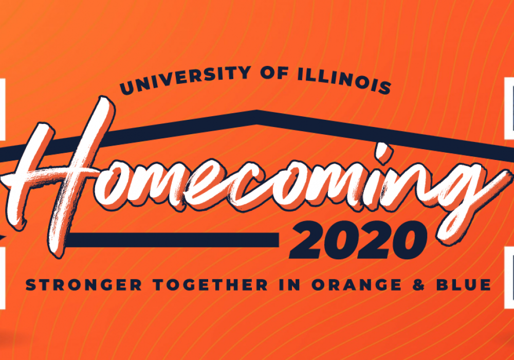 Orange field with blue block I logos at left and right sides and the text: University of Illinois Homecoming 2020: Stronger Together in Orange & Blue