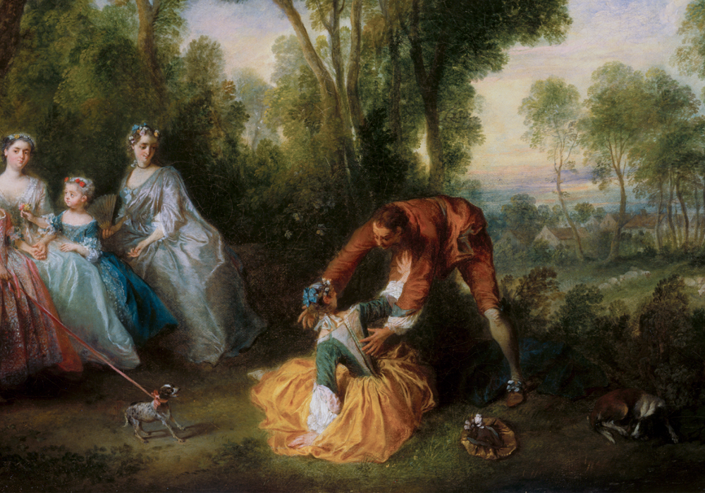 18th c. painting with a group of four richly dressed women on the right watching a well-dressed man reaching for a girl on the ground who is pushing him away. There are three dogs in the foreground and a lush pastoral landscape with trees and a clear sky.