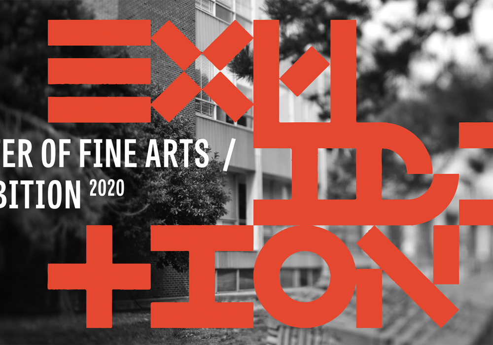 black and white image of the front of the school of art and design at Illinois with red type that says MFA exhibition. the typography is artistically presented and broken into several lines