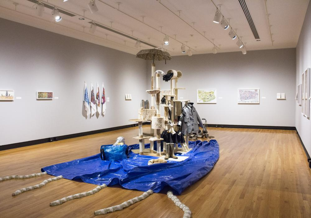 Allan deSouza, Through the Black Country..., installation at Krannert Art Museum, 2018. © Board of Trustees of the University of Illinois