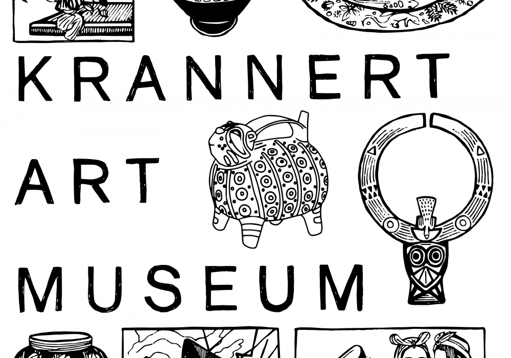 line drawing of paintings and sculptures with Krannert Art Museum written in all caps. The drawing is black lines on white paper, designed to be colored in by the user.