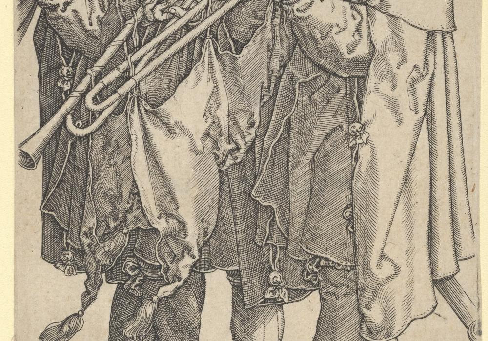 Heinrich Aldegrever (German), Three Trombonists, from The Large Wedding Dancers, 1538. Engraving. (Public domain)