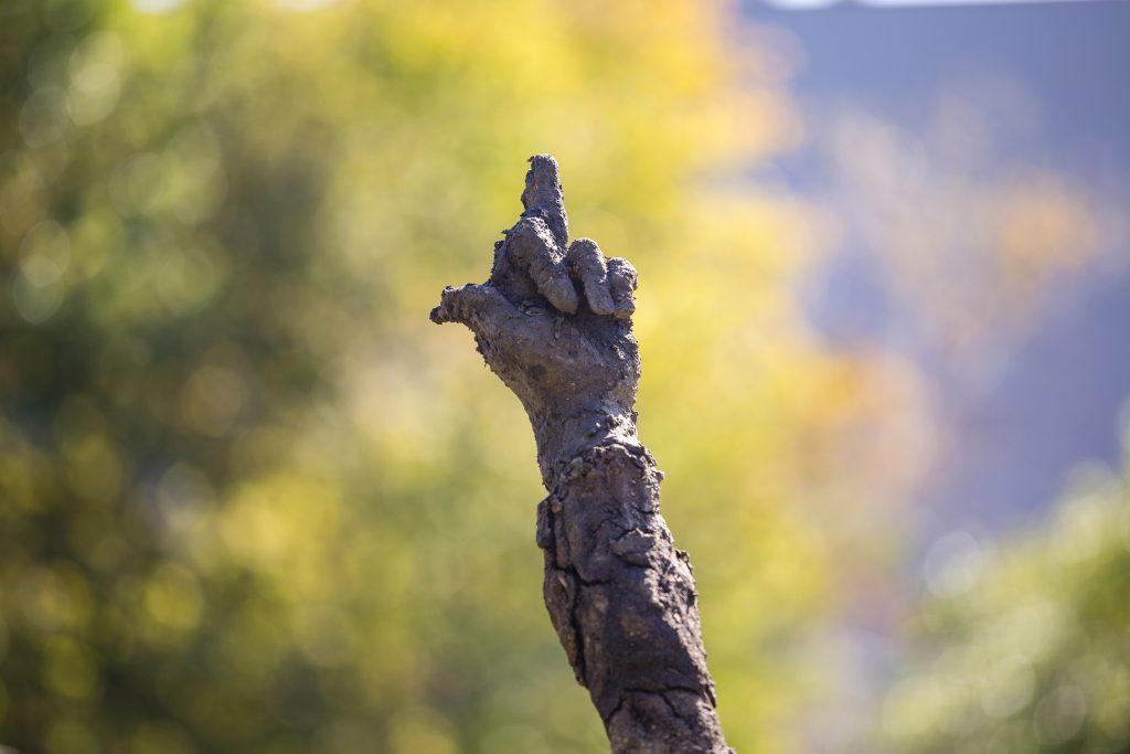 Close up image of a scultpure resembling a hand roughly sculpted out of clay, middle finger raised