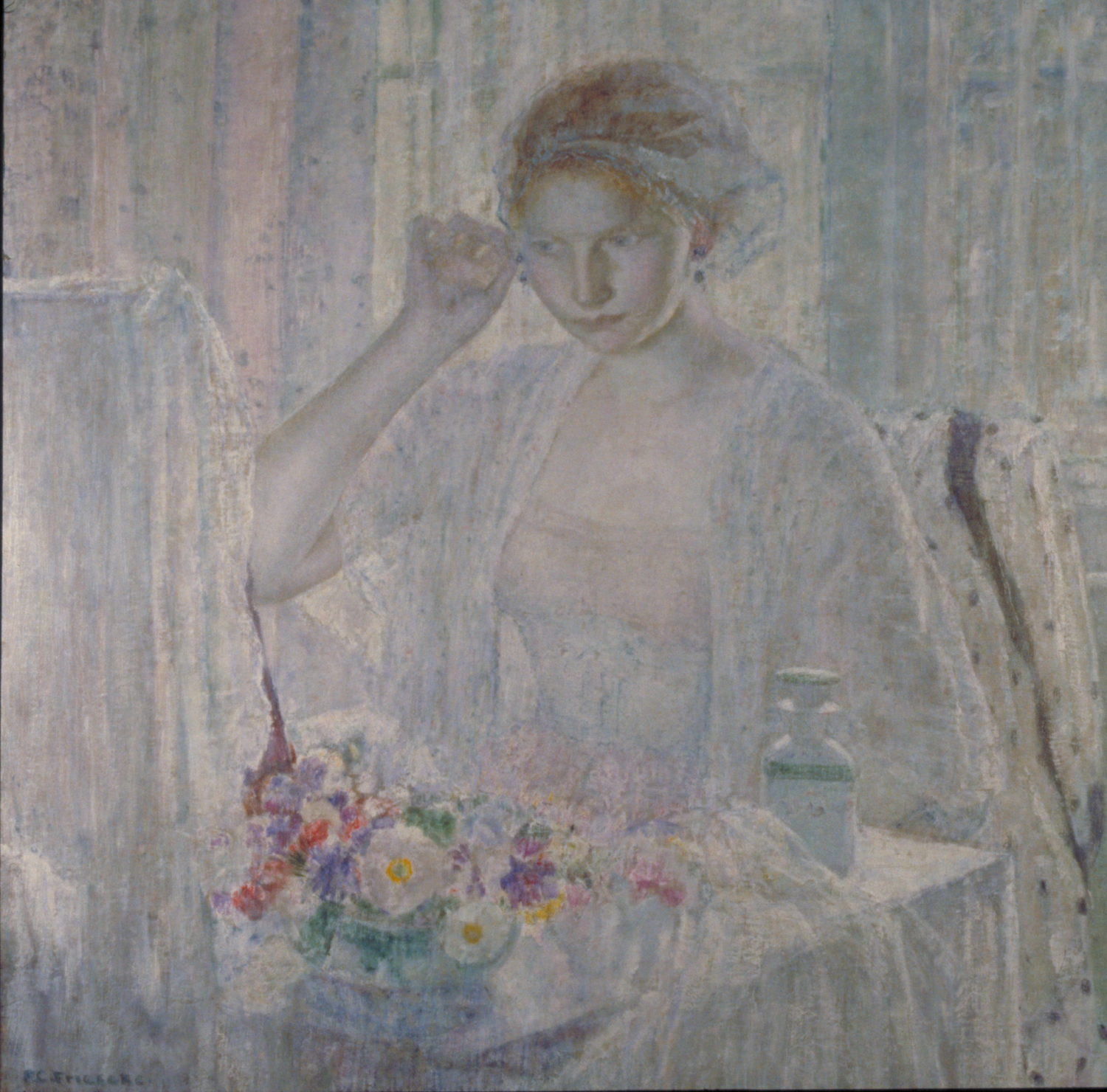 Painting of a girl in a gauzy dressing gown putting on earrings. She sits at a table with flowers as light filters through the light curtains behind her. The painting is all in pastels, conveying the lightness of the room.