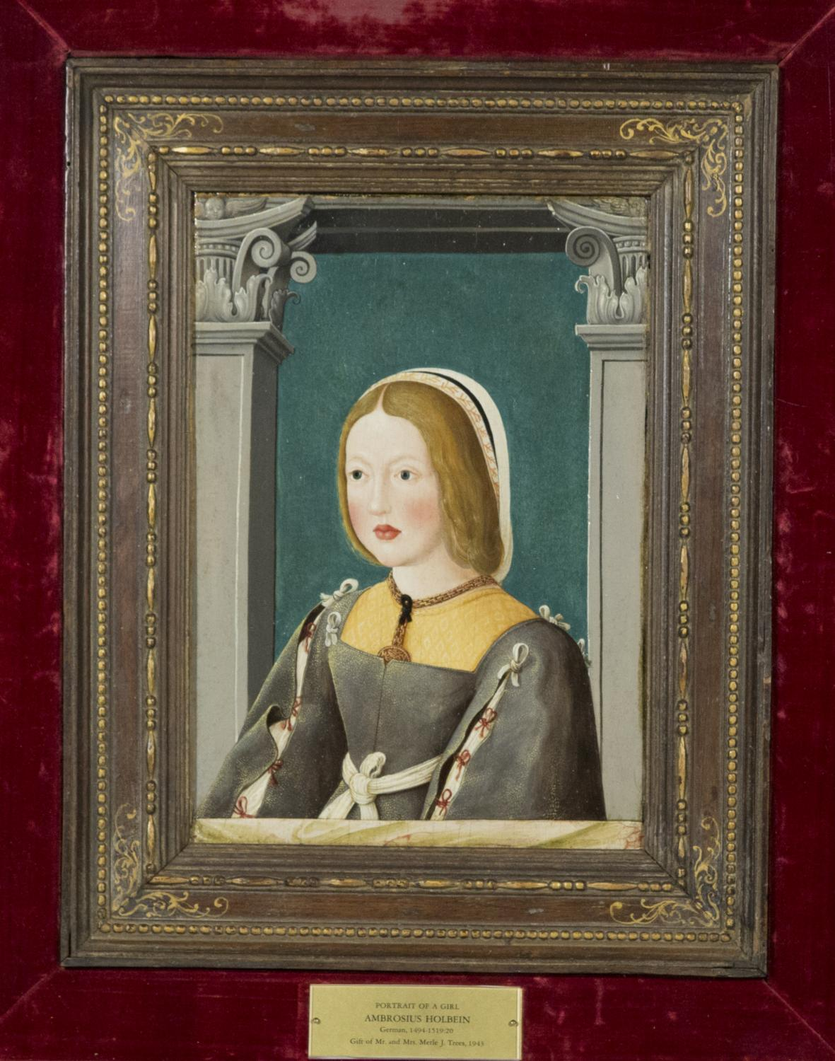 Ambrosius Holbein (Augsburg, Germany, ca. 1494–ca. 1520), Portrait of a Girl, ca. 1518. Oil or tempera on fir panel. Gift of Merle J. and Emily N. Trees 1943-1-2