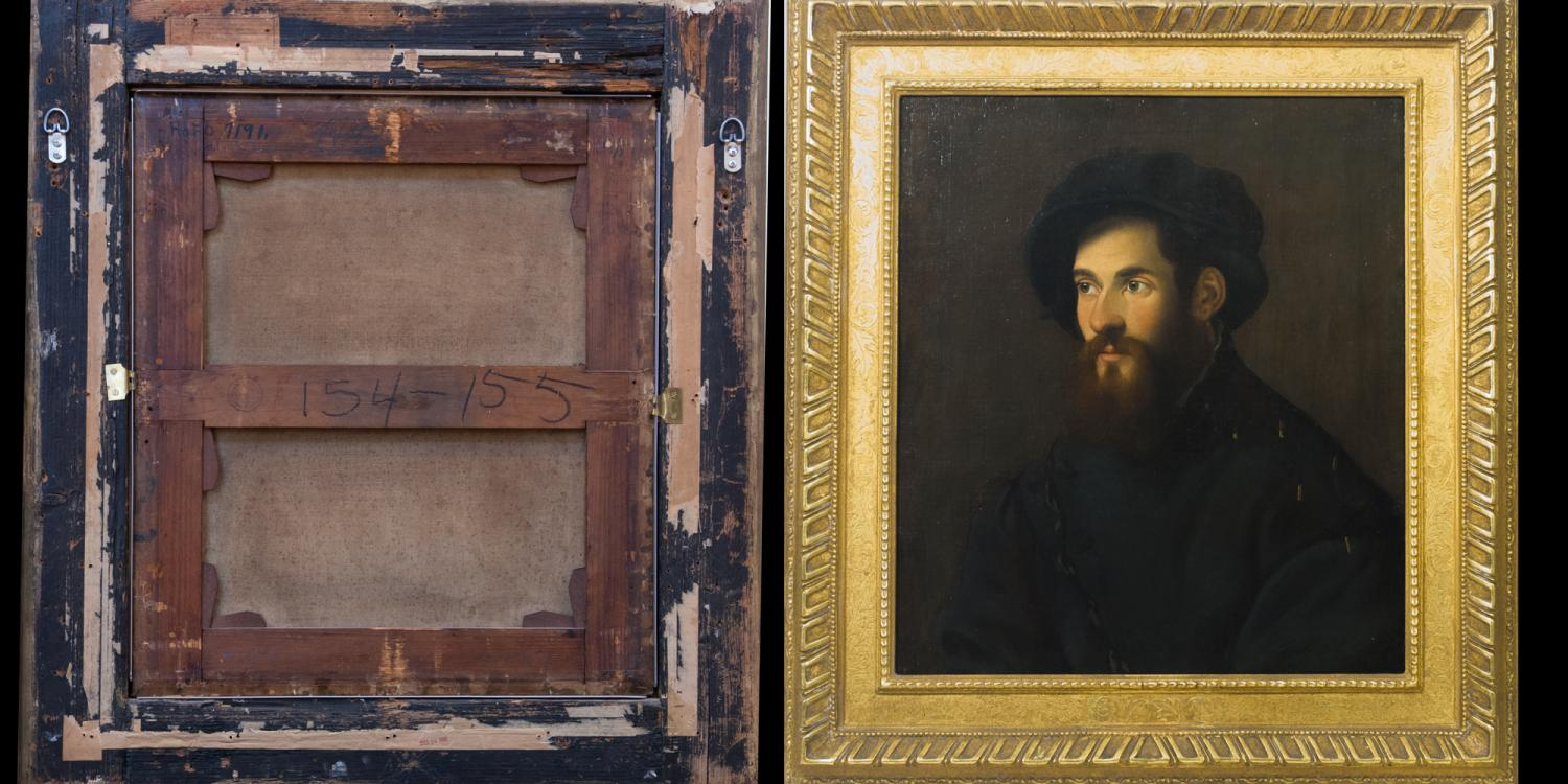 Moretto da Brescia (attributed), Portrait of an Unidentified Man (verso and recto), ca. 1525–1550. Oil on canvas. Gift of Merle J. and Emily N. Trees 1945-1-2