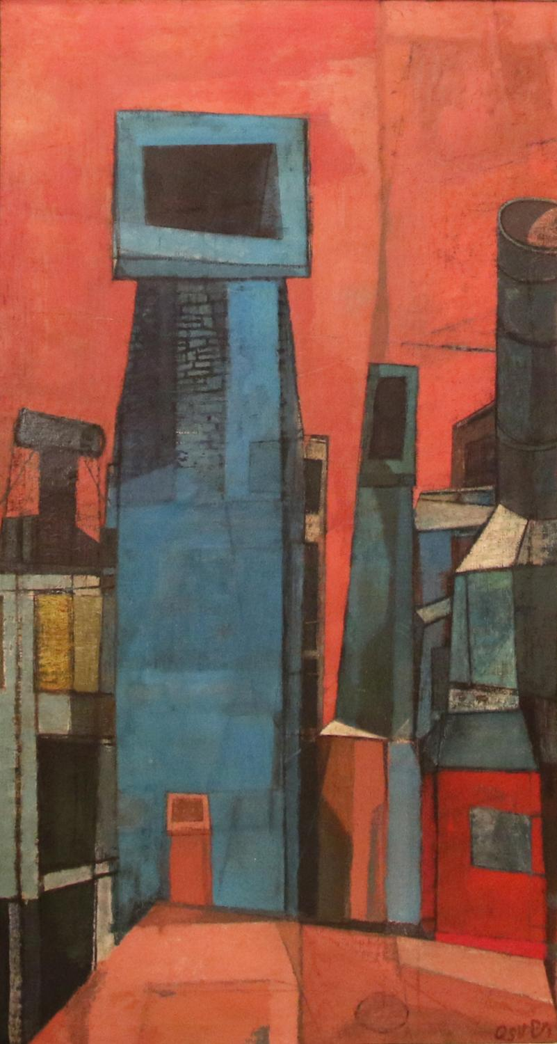 Arthur Osver, Chimneys and Buildings, 1947. Oil on canvas. University of Illinois purchase through the Festival of Arts Fund 1949-4-1. ©️ Estate of Arthur Osver and Ernestine Betsberg