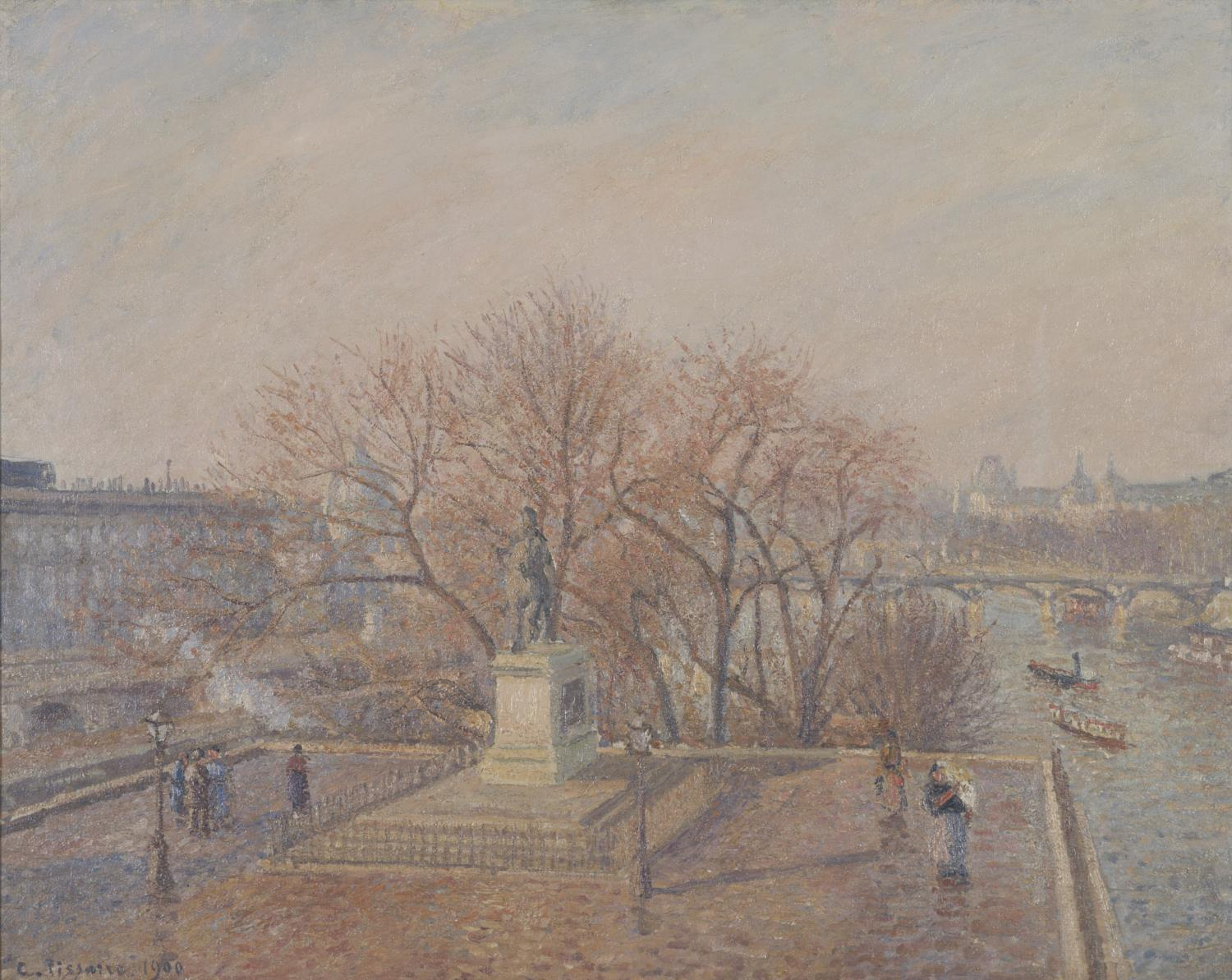 Camille Pissarro, Statue d'Henri IV, matin, soleil d'hiver (Statue of Henri-IV, Morning, Winter Sunlight), 1900. Oil on canvas, 29 x 36 3/4 inches. Gift of Mr. and Mrs. Merle J. Trees 1951-1-2