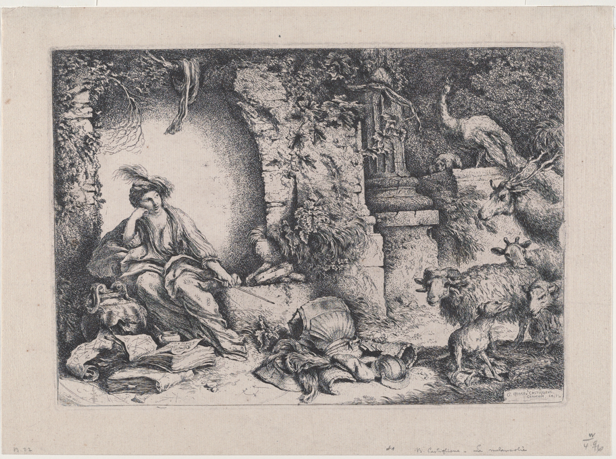 Black and white etching with a woman in a turban and robes lounging amid vine-covered ruins, with a stick in her hand and open books at her feet. At right goats, sheep, and a single peacock stand confused.