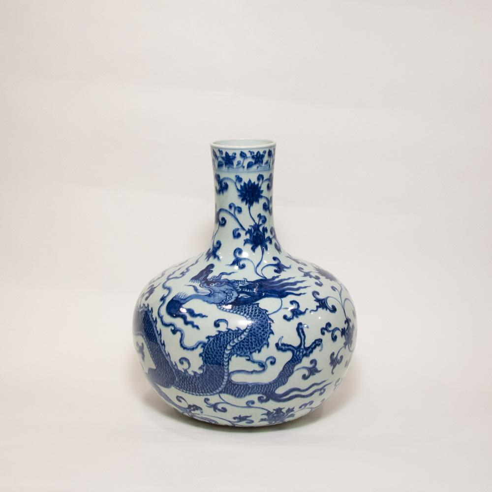 Blue And White Globular Dragon Vase Tianqiuping Qing Dynasty Jiaqing