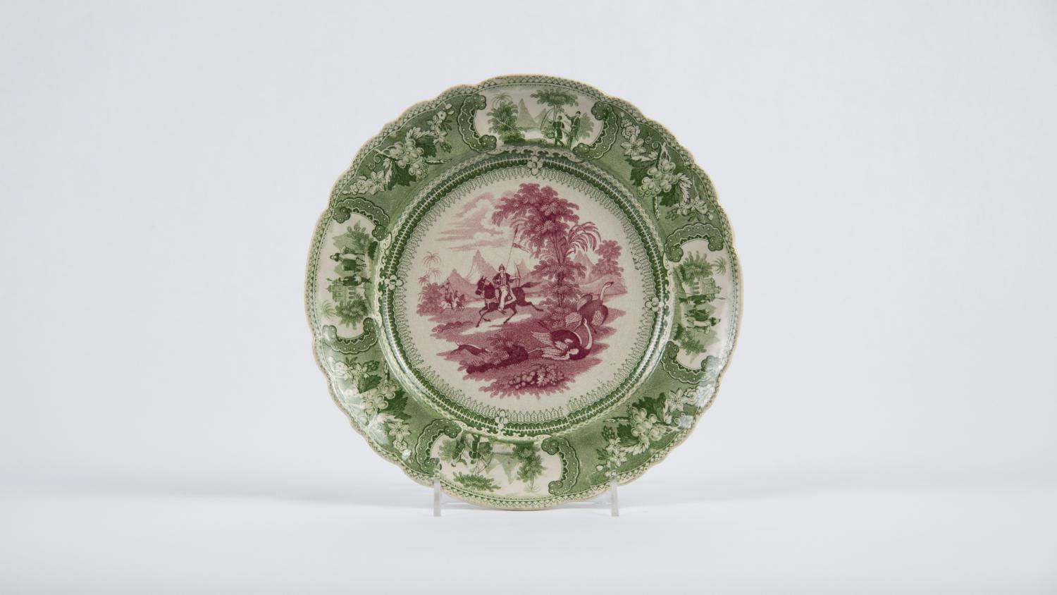 """Enoch Wood & Sons, Plate with """"Belzoni"""" Pattern, 1830-1840. Earthenware, transfer-printed in underglaze red and green. Theresa E. and Harlan E. Moore Collection. 1967-24-103"""