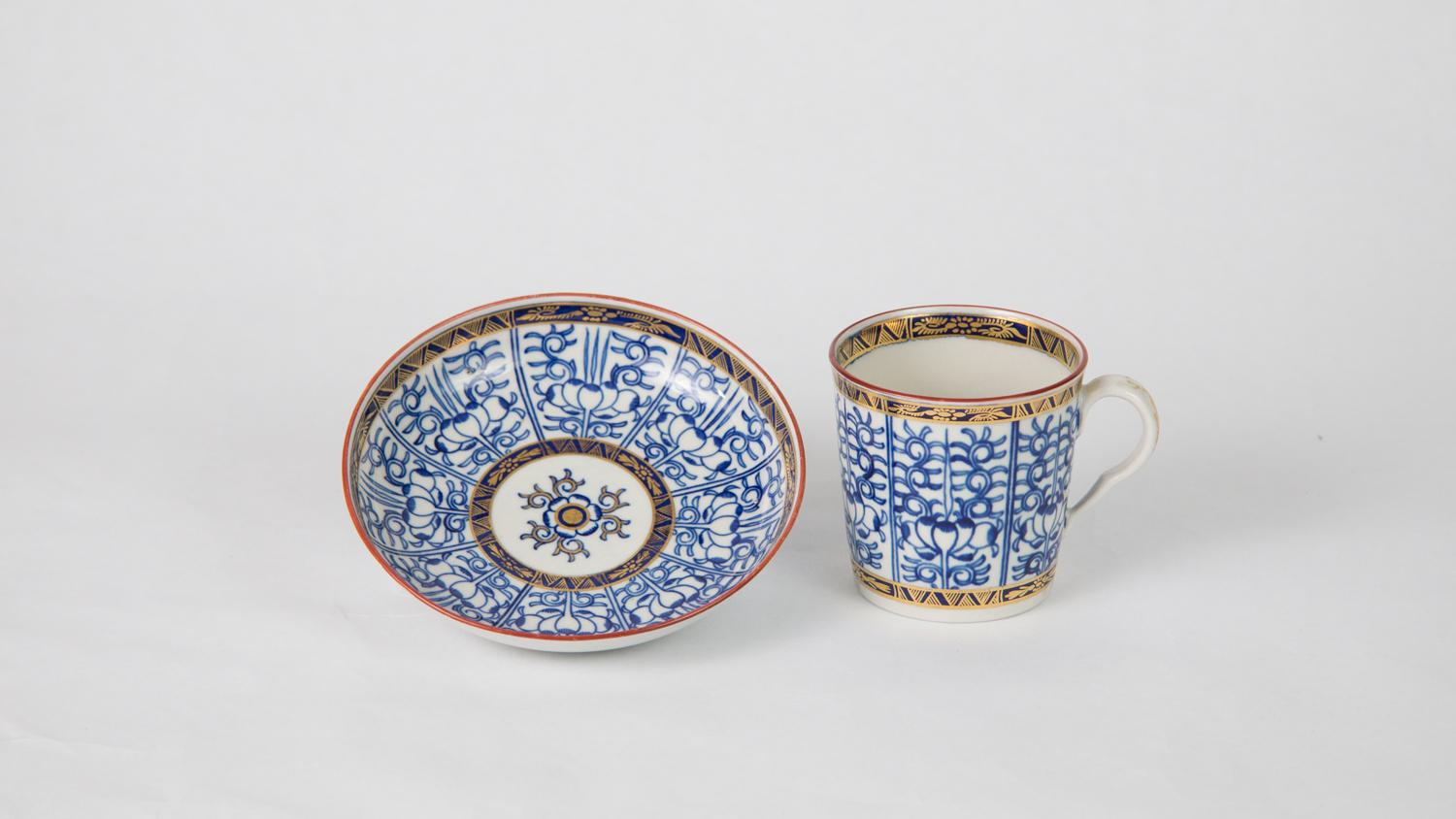 Royal Worcester (established 1751), Royal Lily Pattern Coffee Cup and Saucer, ca. 1770-1783, porcelain, Gift of Harlan E. and Theresa E. Moore, 1967-24-8; 1967-24-8.a